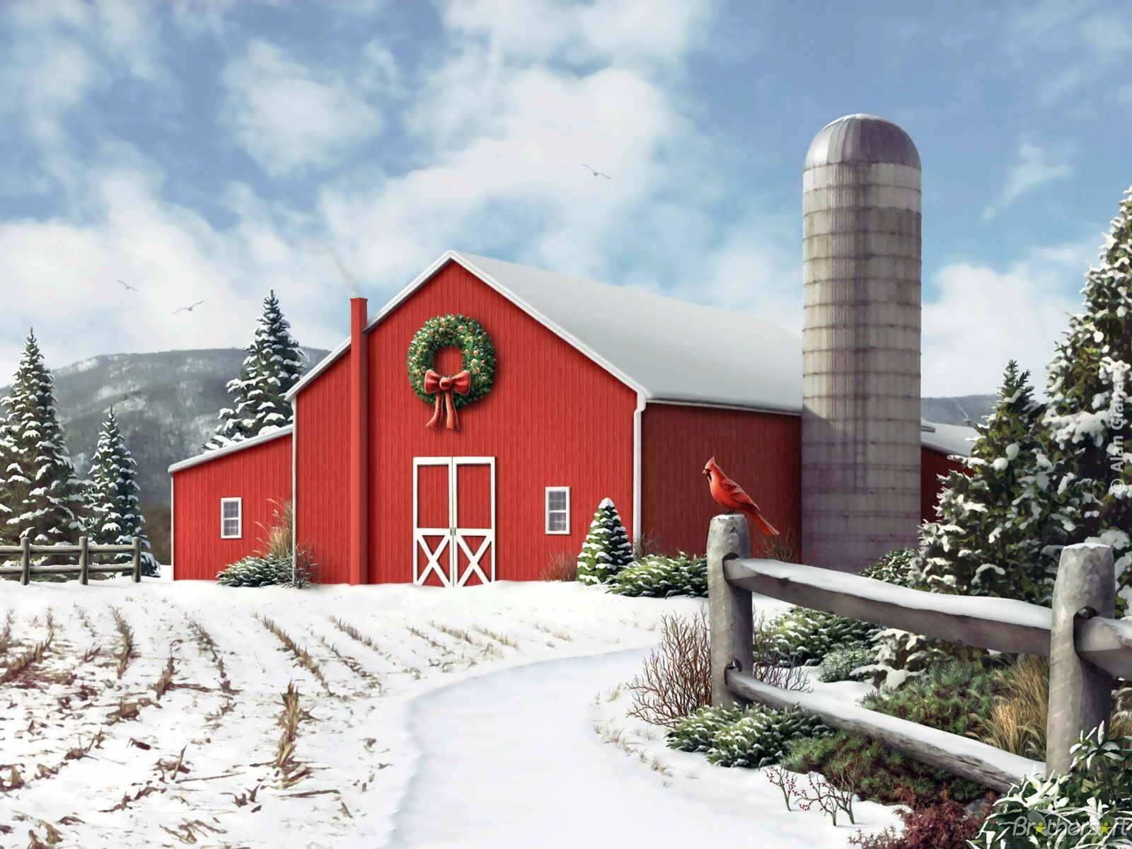 45 winter barn scenes wallpaper on wallpapersafari - Winter farm scenes wallpaper ...