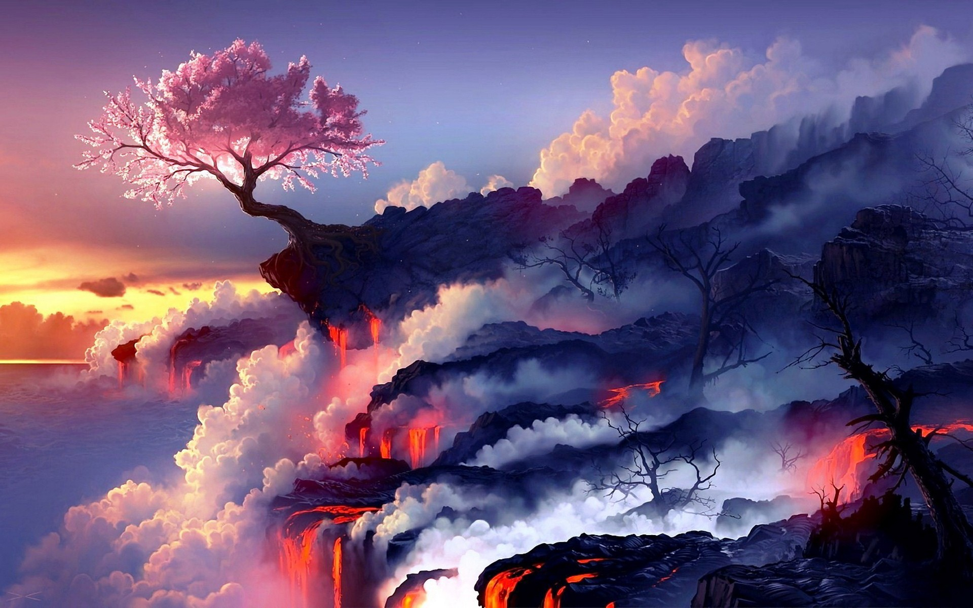 Cherry blossoms and lava wallpaper4mecom 1920x1200