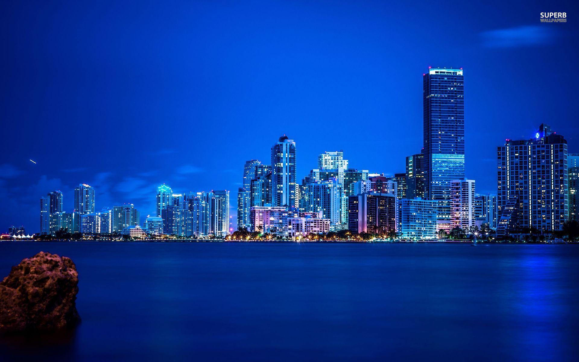 Miami night skyline wallpaper 1920x1200 1920x1200