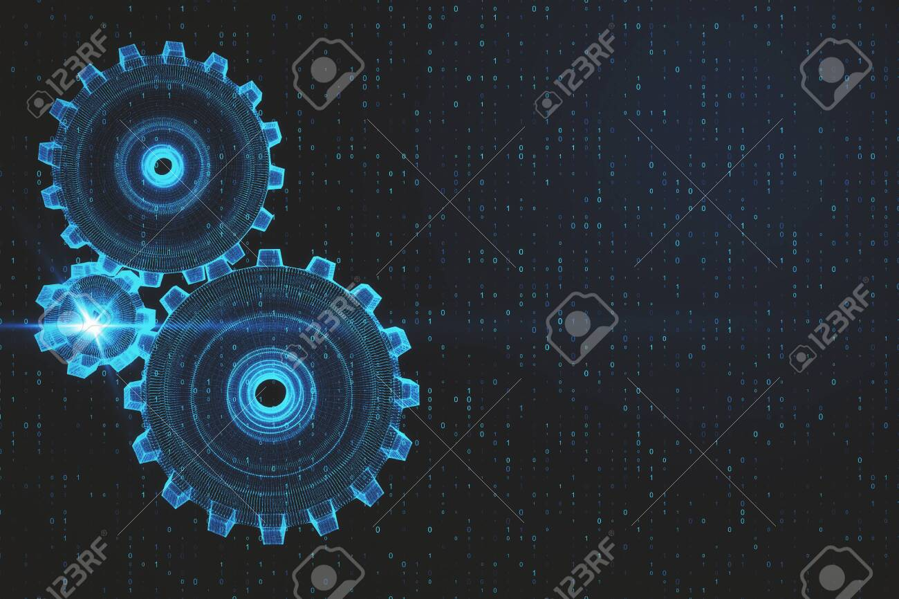 Creative Digital Gears On Blue Binary Code Wallpaper With Numbers 1300x866