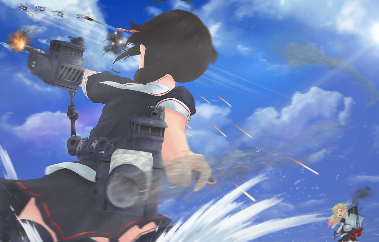 Wallpaper the sky girl clouds weapons the ocean anime art 1332x850