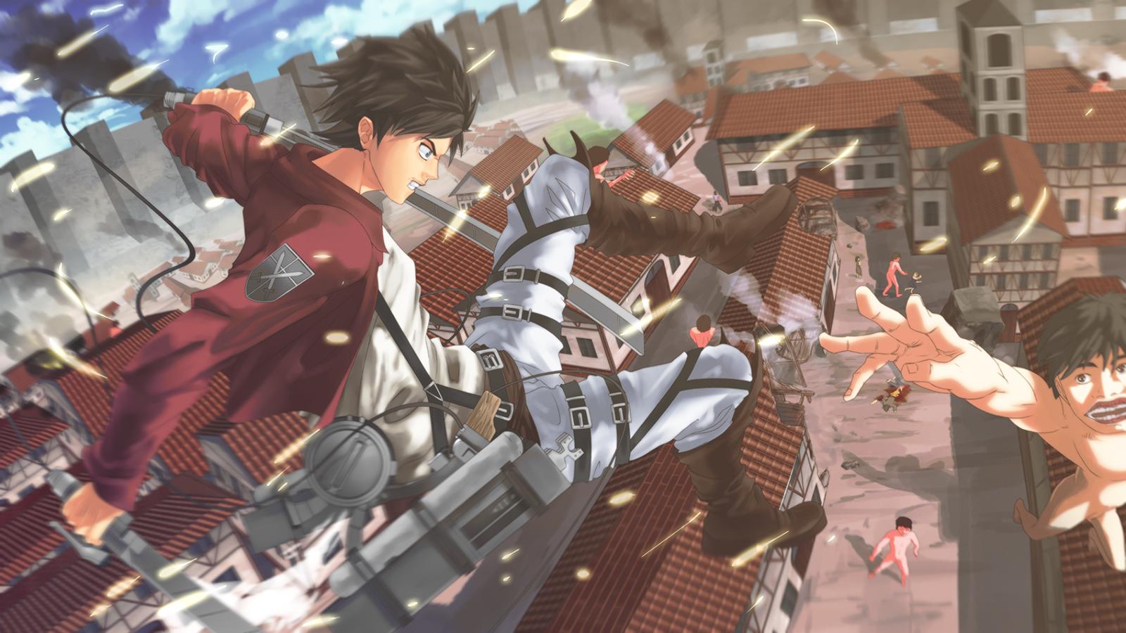 on Titan Shingeki no Kyojin Eren Jaeger Anime Sword Blade HD Wallpaper 1600x900