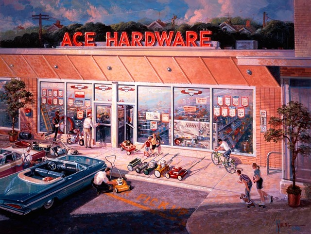 Ace Hardware 60s Wall Mural   Contemporary   Wallpaper 640x482