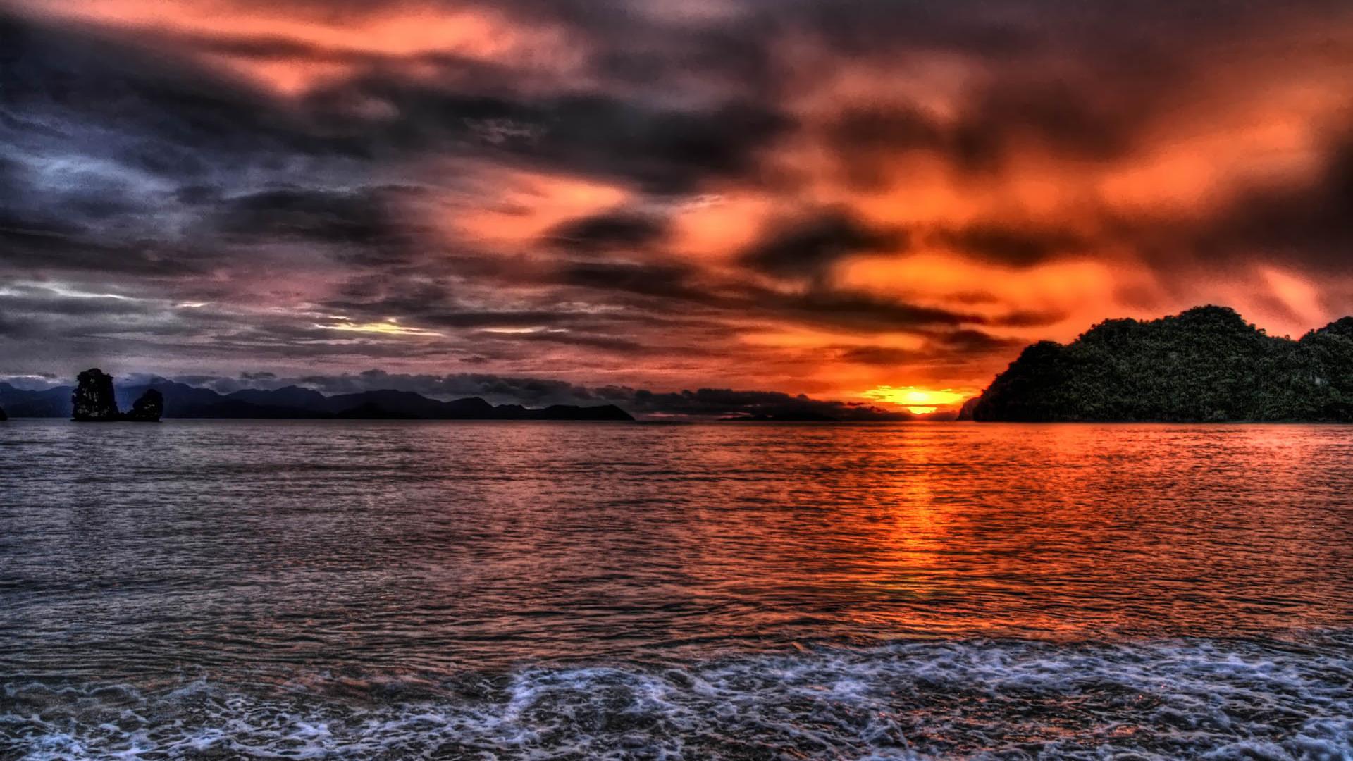 Sunset Beach Wallpaper HD   bsrlorg 1920x1080