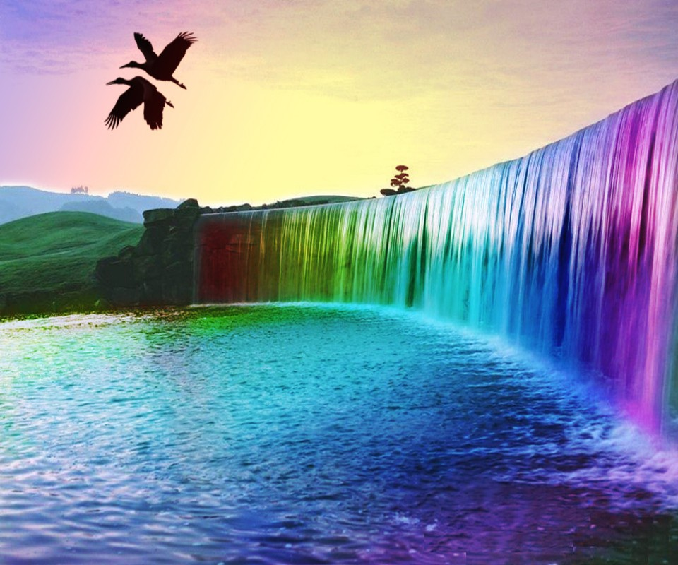 Desktop Wallpapers Waterfalls With Rainbow