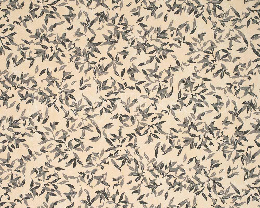 Scandinavian Vintage tiny leaves birds creme charcoal no3222 1000x800
