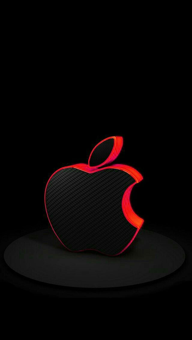 Black with Red Trim Apple on Black Wallpaper sheik in 2019 640x1136