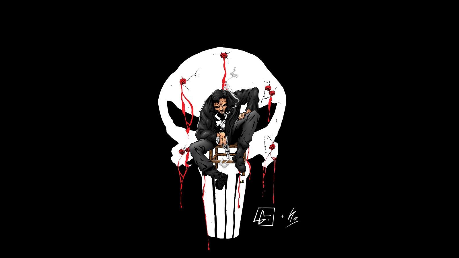 httpwwwwallpaperupcom171813Punisher Logo DC Blood Blackhtml 1600x900