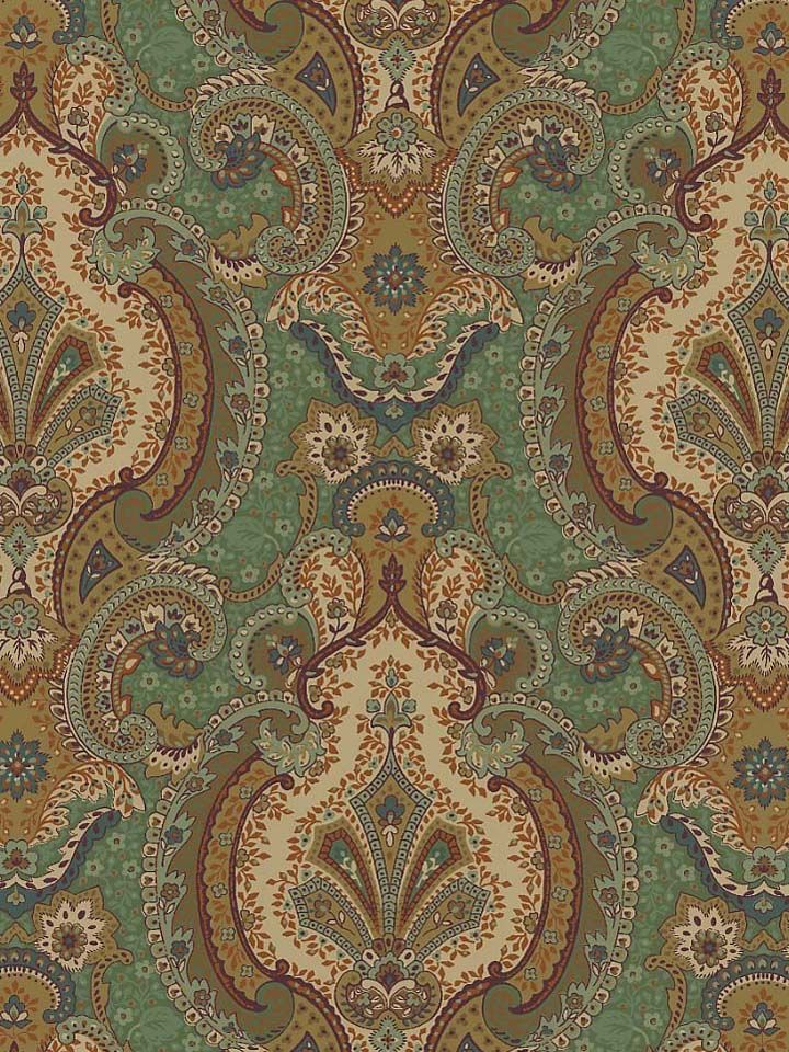 Moroccan Blue Green Gold Textile Print from the Europa Agean Wallpaper 720x960