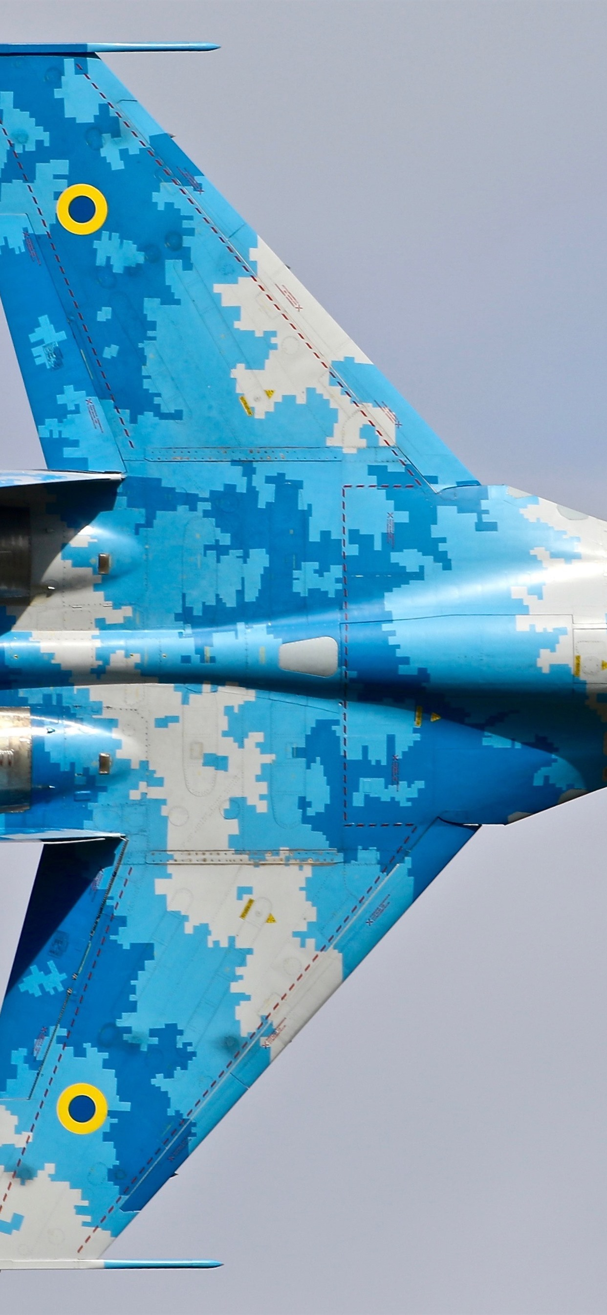 Su 27 fighter blue wings top view 1242x2688 iPhone 11 ProXS 1242x2688