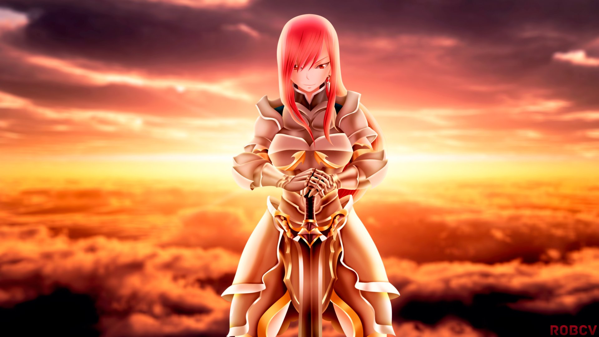 erza scarlet armor and sword fairy tail anime girl hd 1920x1080 1080p 1920x1080