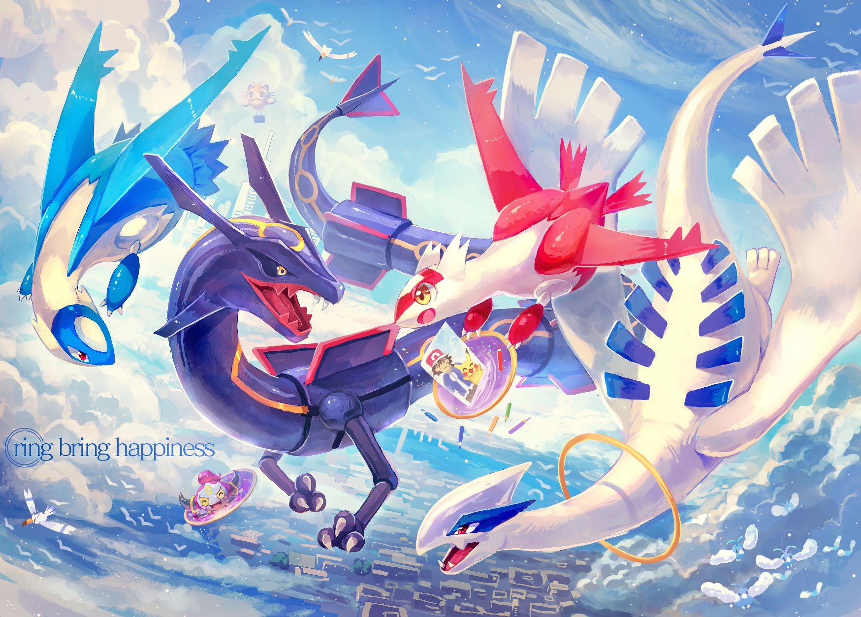 Pokemon pixiv Latias Latios shiny Rayquaza Lugia and Hoopa 1749x1254