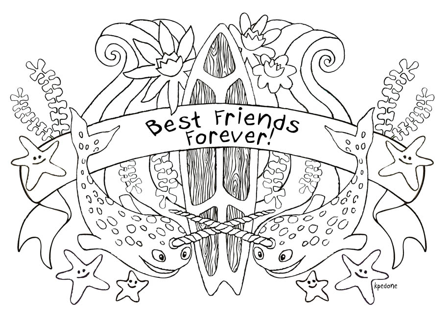 Bff coloring pages to download and print for free | Best friend ... | 652x915