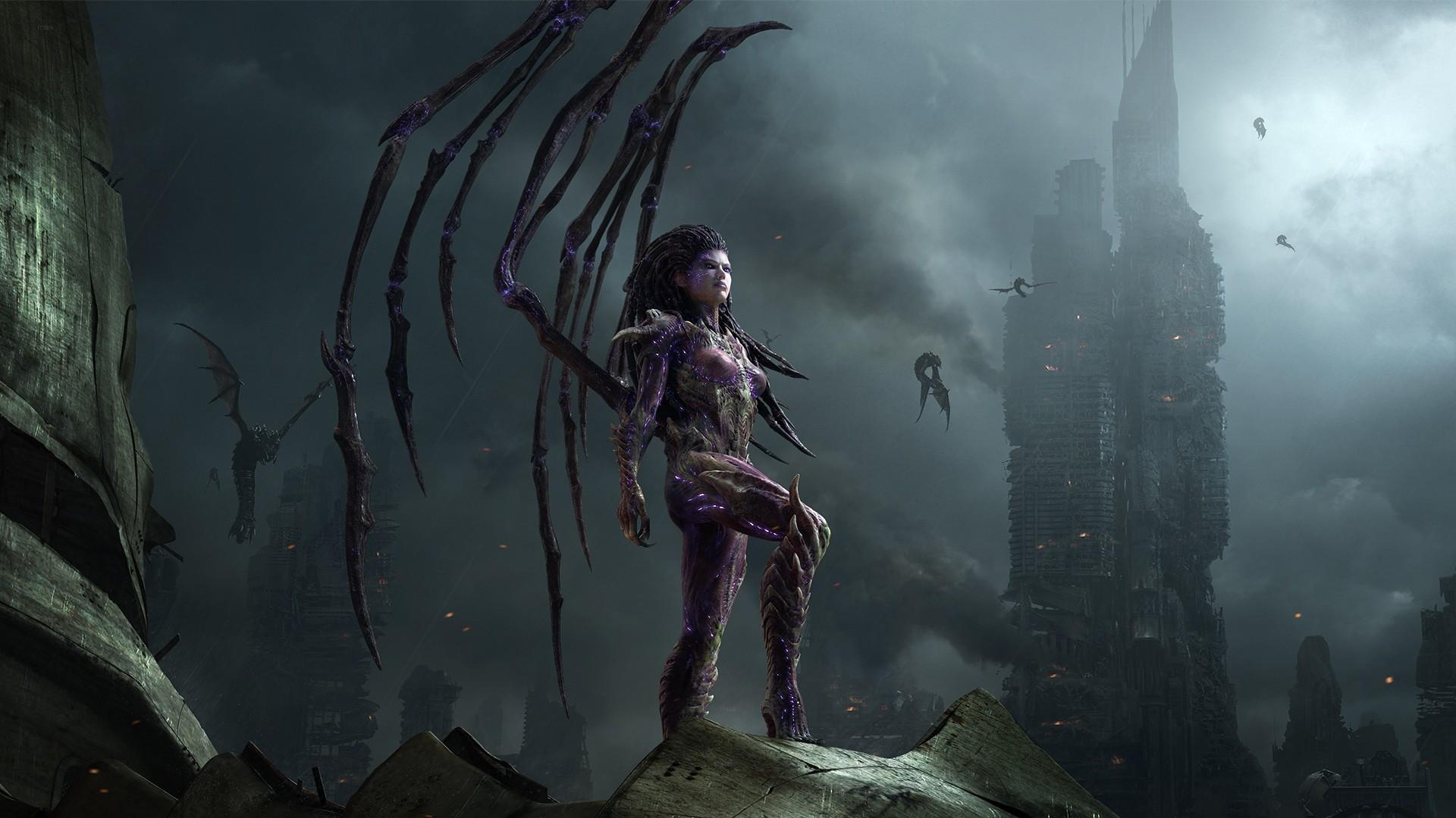 StarCraft Queen of Blades dark demons fantasy dragons post apocalyptic 1920x1080