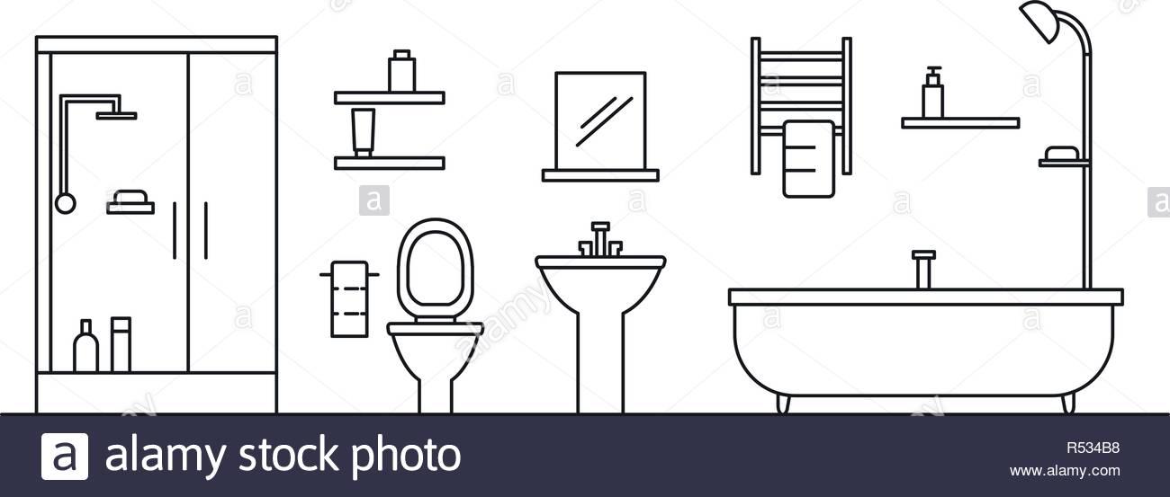 Bathroom concept background Outline illustration of bathroom 1300x553