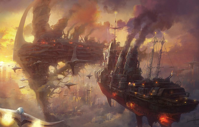 Wallpaper clouds sunset the city smoke ships art steampunk 1332x850