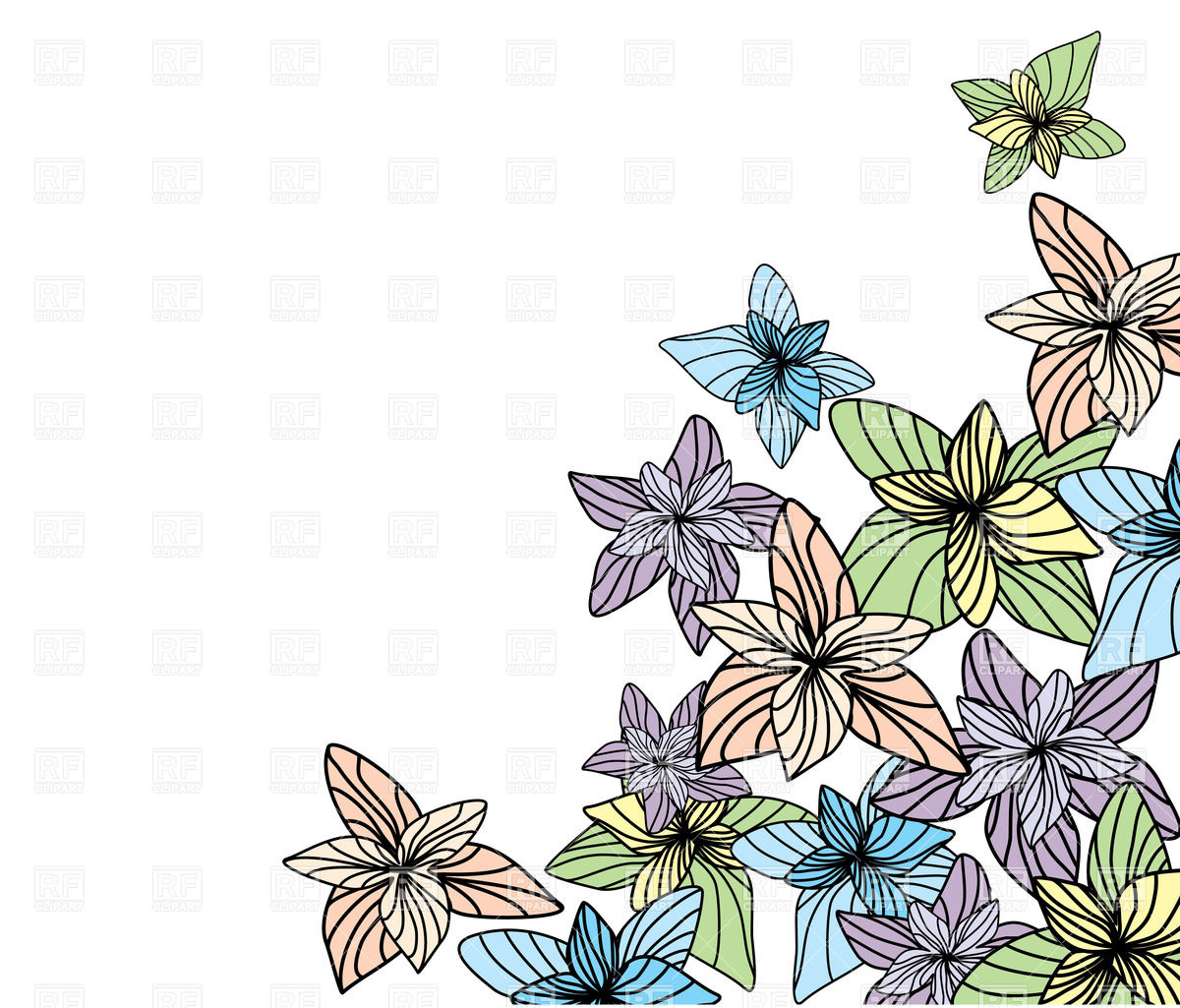 White background with outline flowers Vector Image of Backgrounds 1200x1025