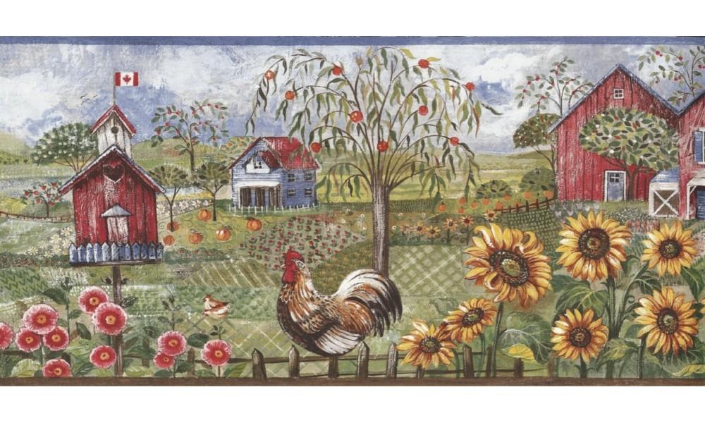 Home Blue Rooster Farm Wallpaper Border 1000x600