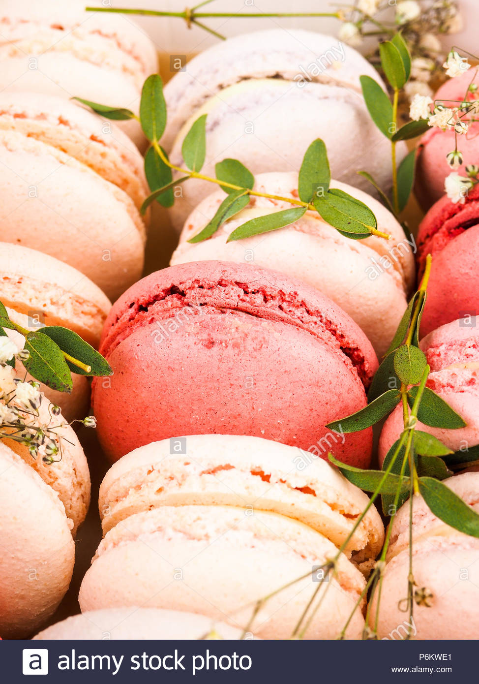 Colorful french macarons background close upDifferent colorful 974x1390
