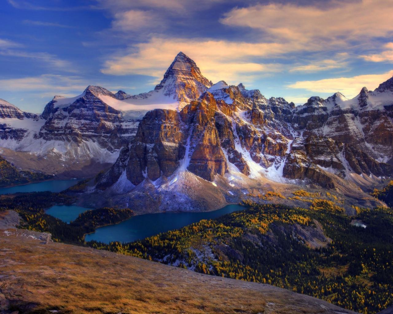 canada mount assiniboine canadian rockies lakes wallpaper 80036 1280x1024
