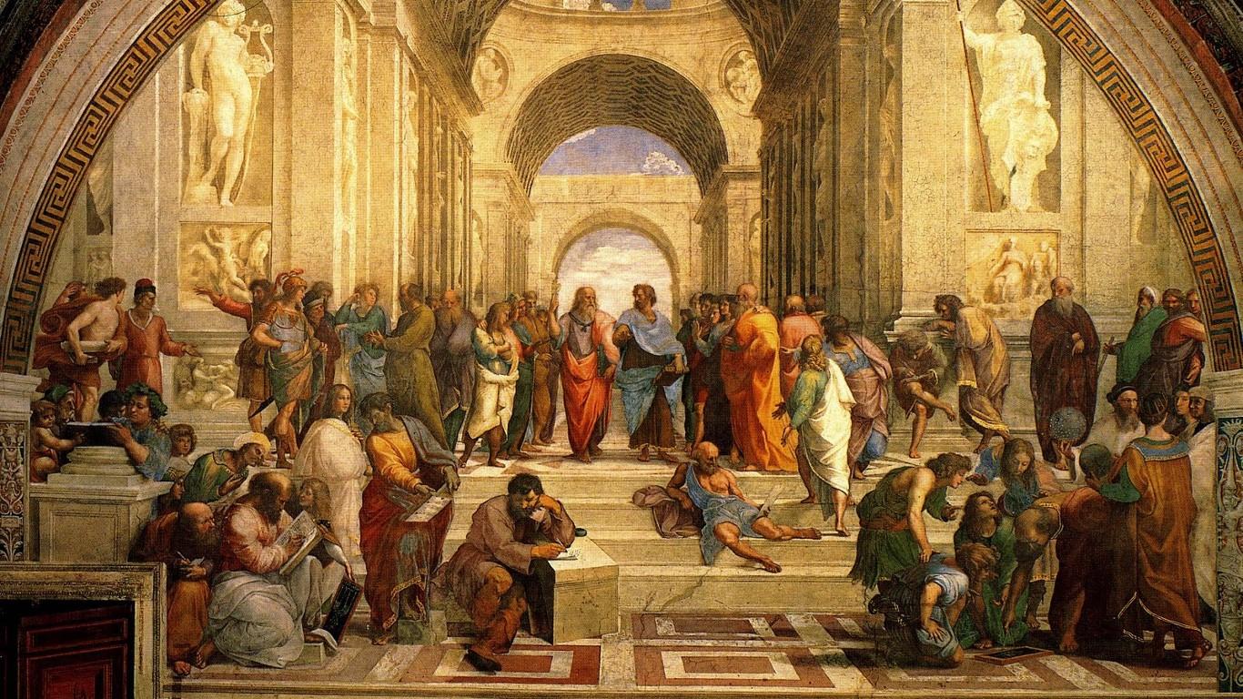 renaissance the school of athens classic art paitings raphael painter 1366x768