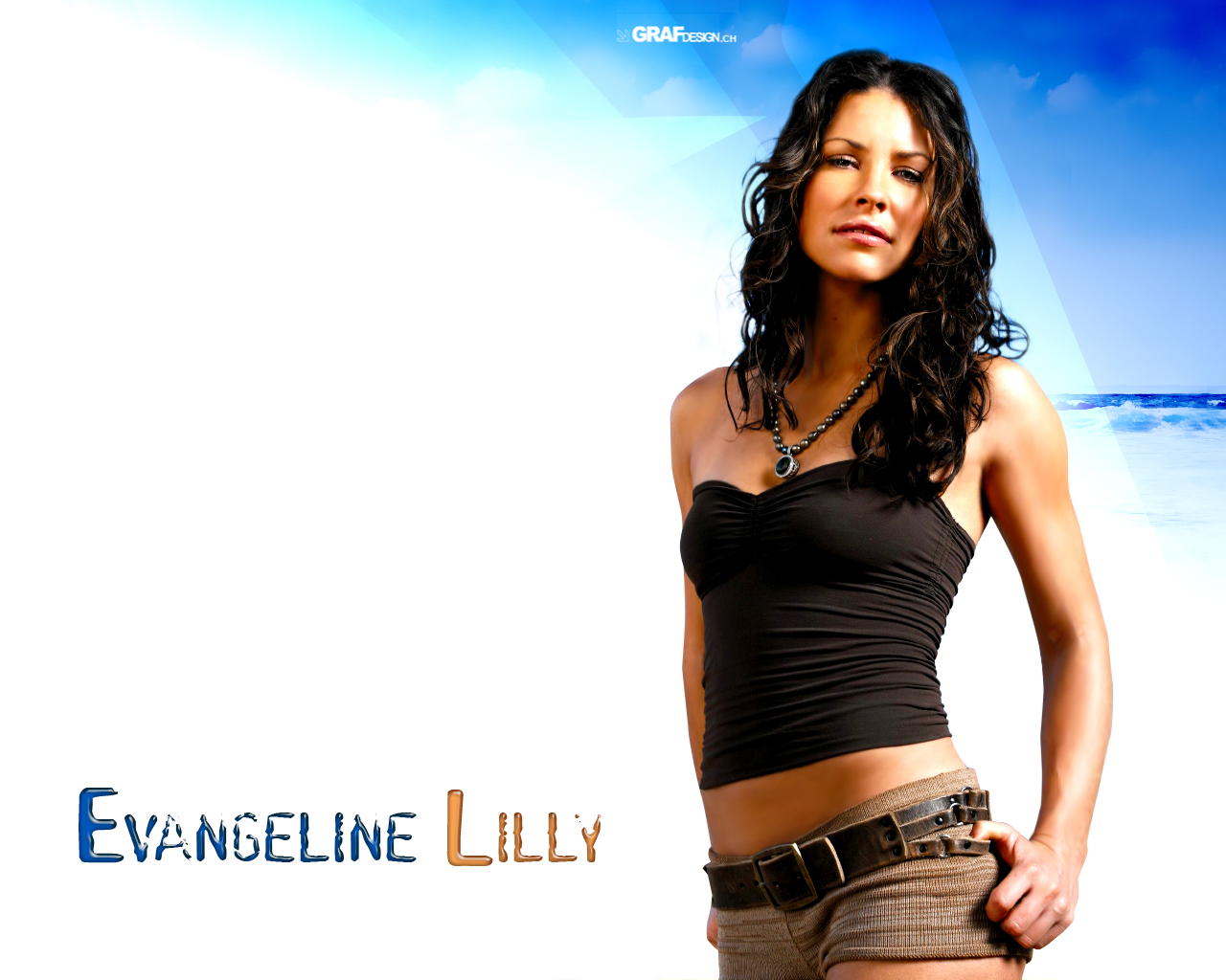 on the beach on set evangeline lilly hd desktop wallpaper background 1280x1024