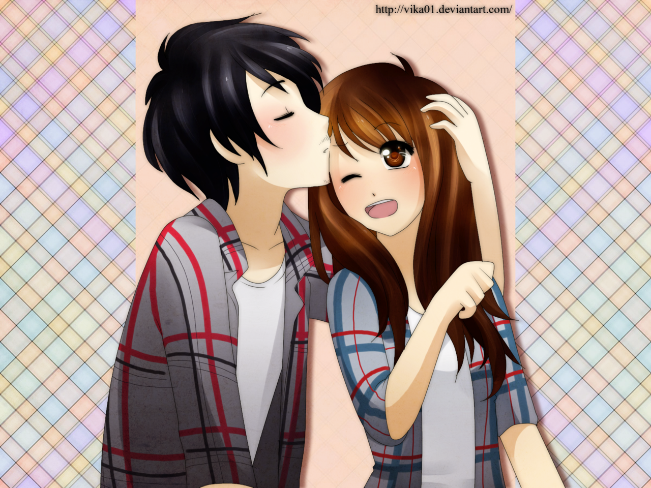 Sweet Couple Anime Wallpaper Wallpapersafari