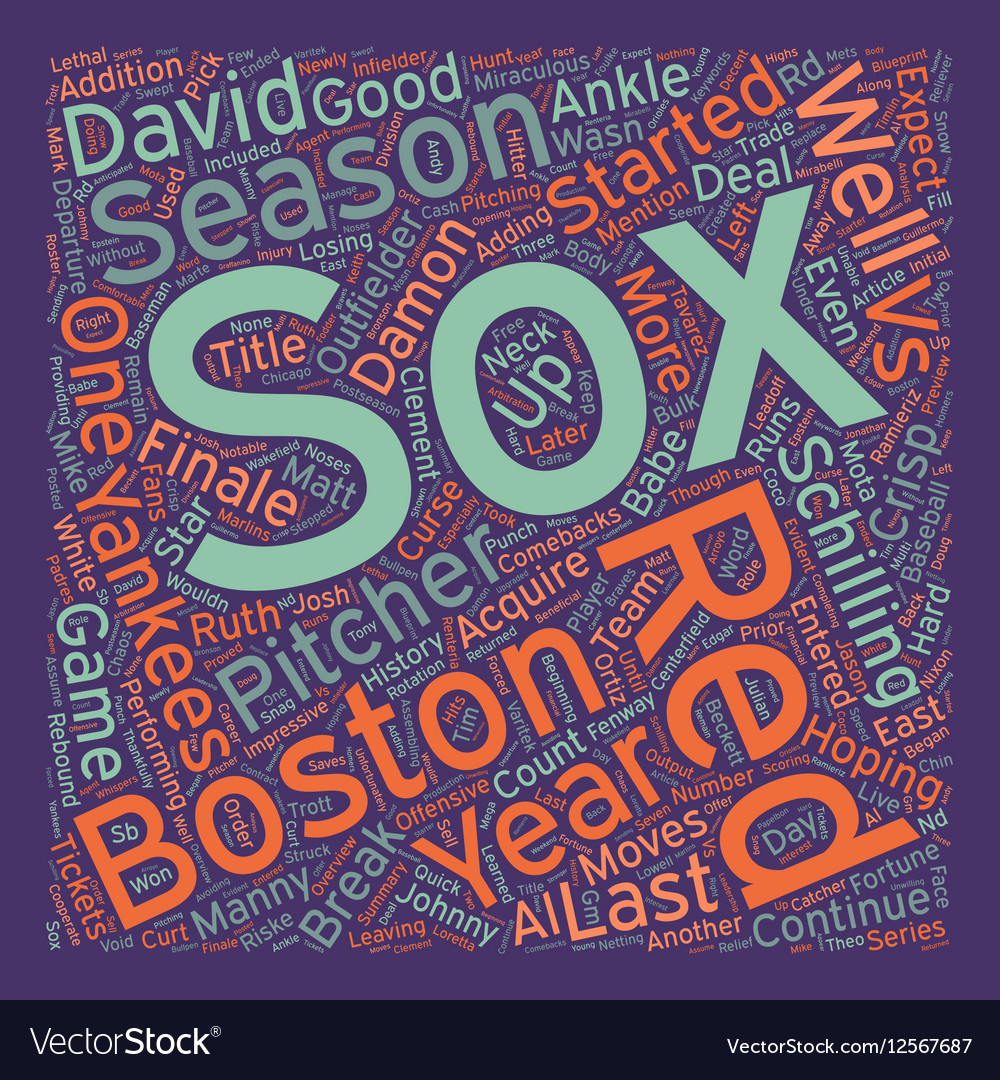 Boston Red Sox Preview text background wordcloud Vector Image 1000x1080