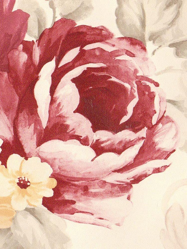 Soft Flowers Burgundy White Yellow Wallpaper Border 1022 eBay 750x1000