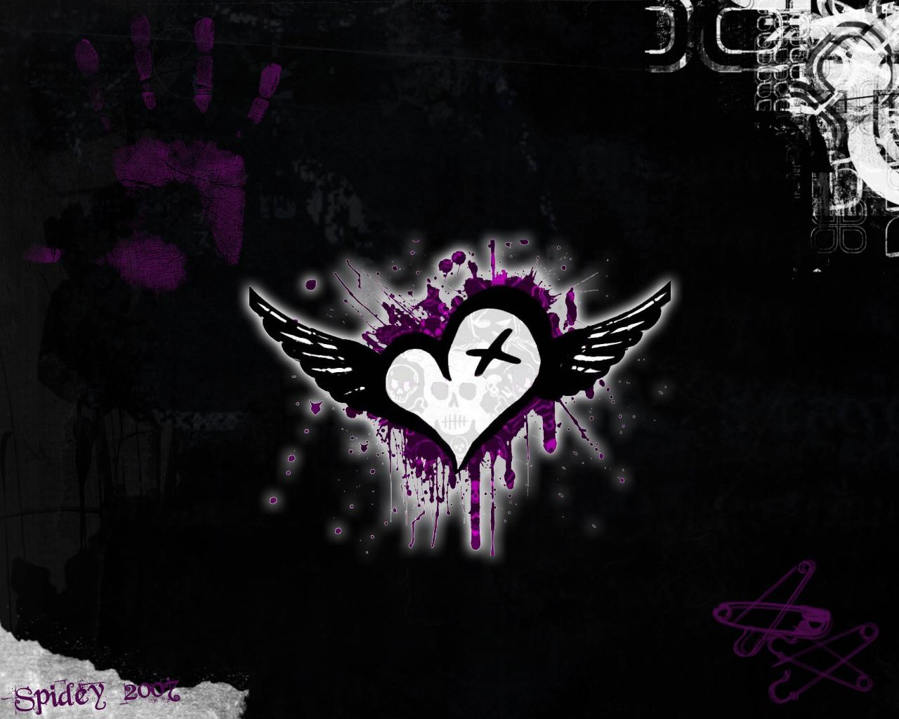 Pics Photos   Black Heart Anime Emo Girls Wallpapers Jpg 1280x1024