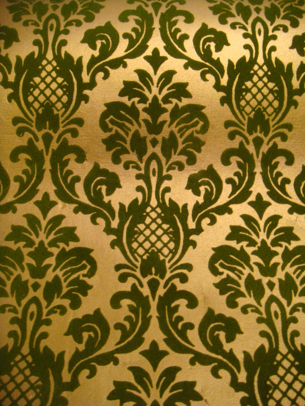 70 039 s Vtg Flocked Gold Brocade Wallpaper Deadstock 2 Rolls 140 Sq 1000x1333