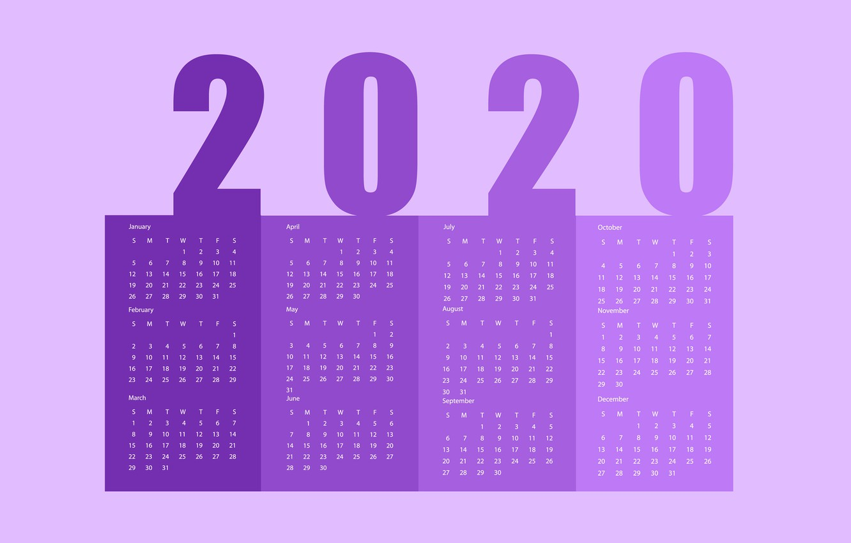 Wallpaper New year calendar 2020 images for desktop section 1332x850
