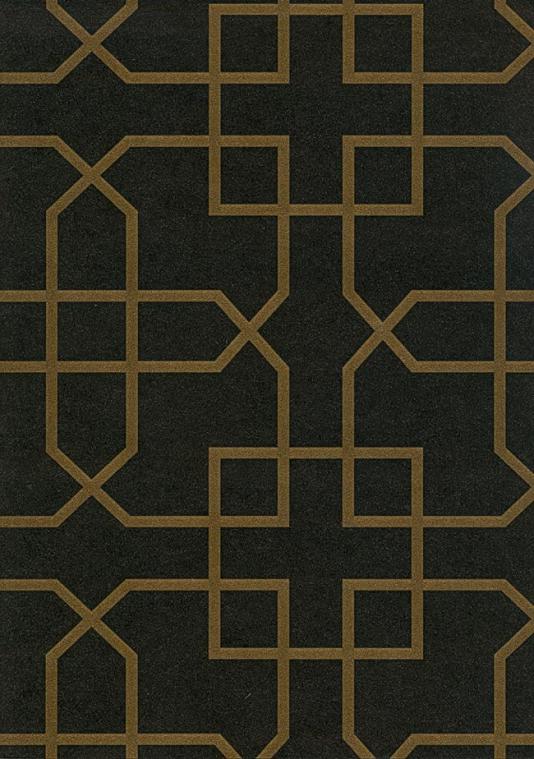 Siam Trellis Wallpaper Black wallpaper with gold trellis design 534x759