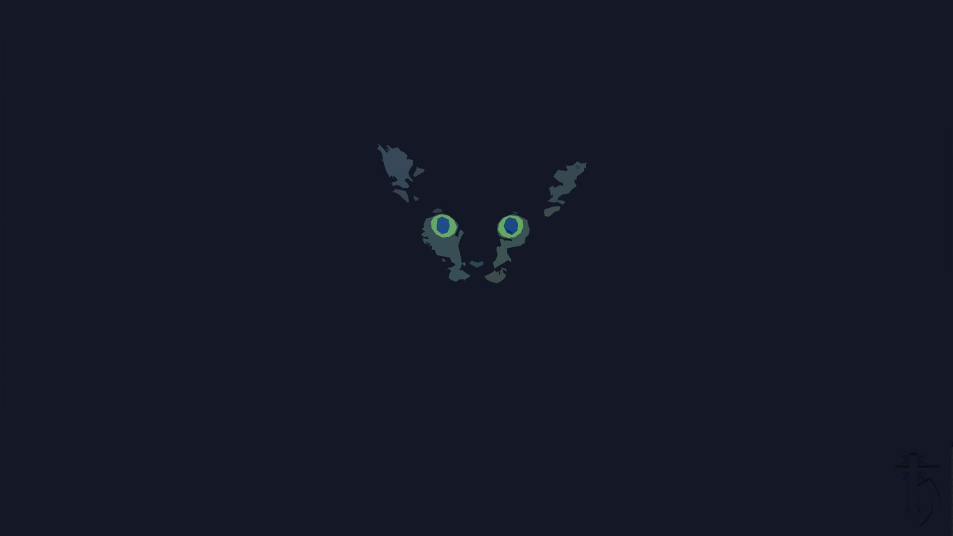 Cat In The Dark Illustration Desktop Wallpaper 1920x1080