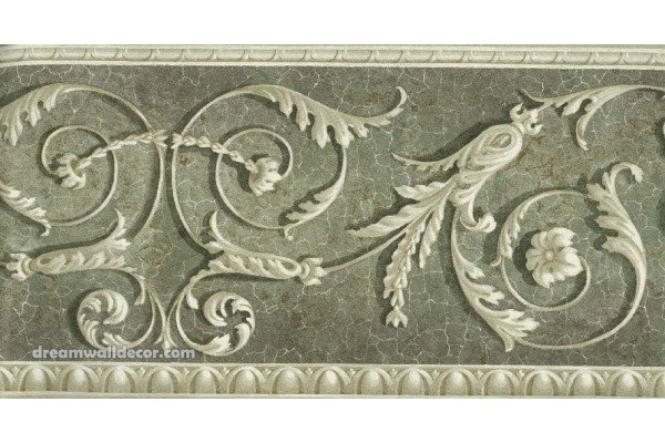 Home Green White Moulding Wallpaper Border 600x400