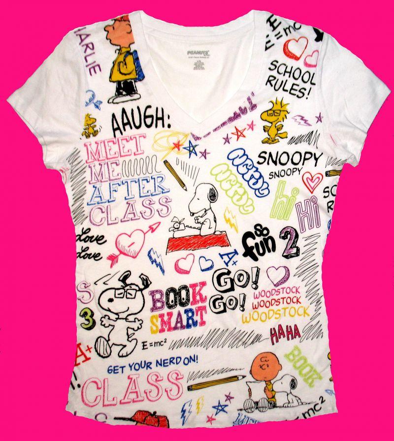 Peanuts Gang Jr V Neck Shirt   Back To School Snoopn4pnutscom 800x896