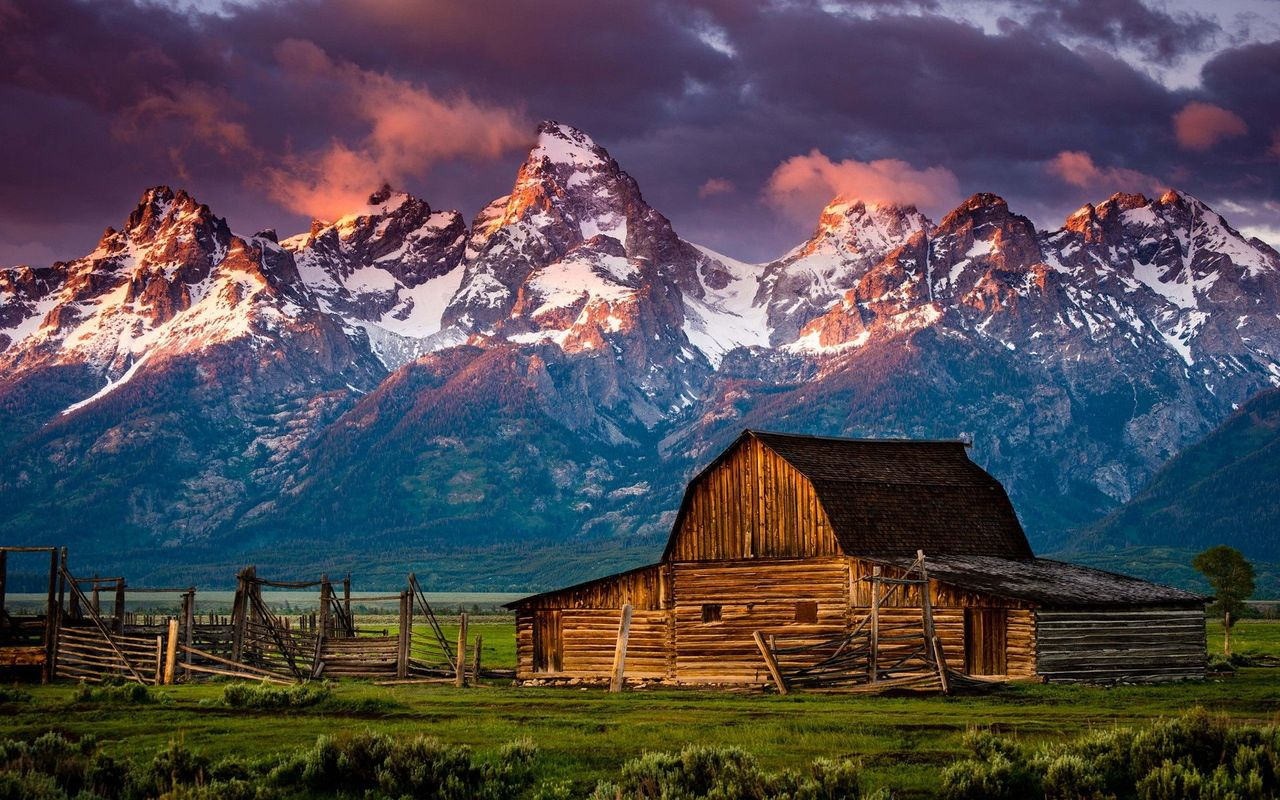 Mountain log cabin wallpaper 17767 1280x800