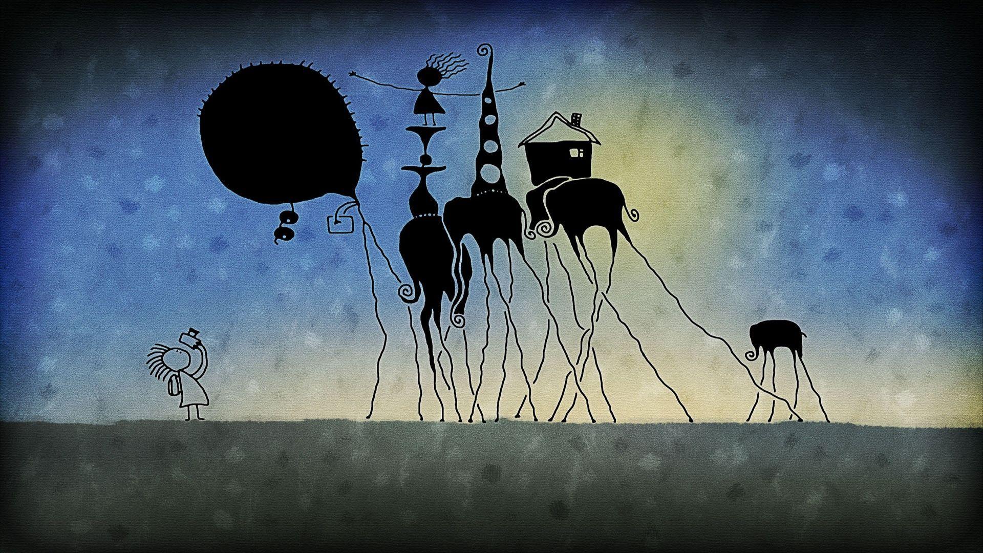 Long legged elephants wallpaper 7331 1920x1080