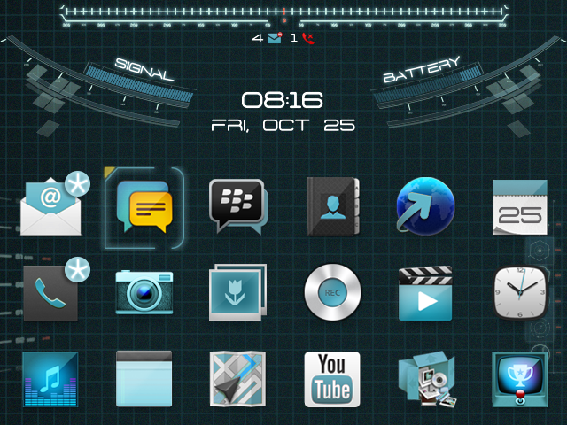OS7] Animated Jarvis Theme Blackberry Theme Wallpapers 640x480