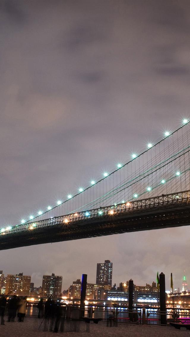 Brooklyn bridge lights wallpapers for iphone 5 640x1136