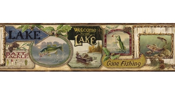 Fishing Signs Wallpaper Border Bait Bass Trout Tackle HTM48441B 600x340