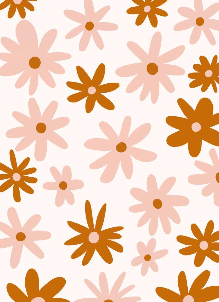 Warm Tone Florals Art Print by Luella   X Small Wallpaper iphone 727x1000