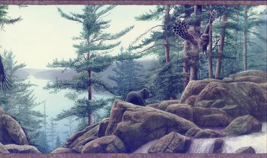 Woodland Wildlife Wallpaper Border  1 Left 525x311