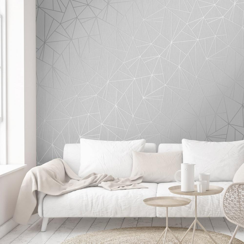 Henderson Interiors Camden Apex Glitter Wallpaper Silver 1000x1000