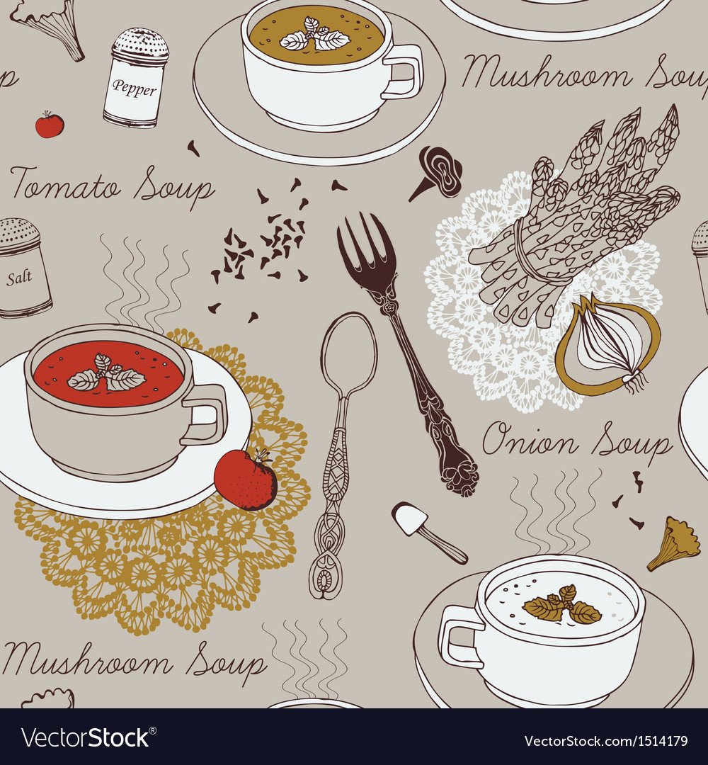 Background with soup in ceramic bowl Royalty Vector 1000x1080