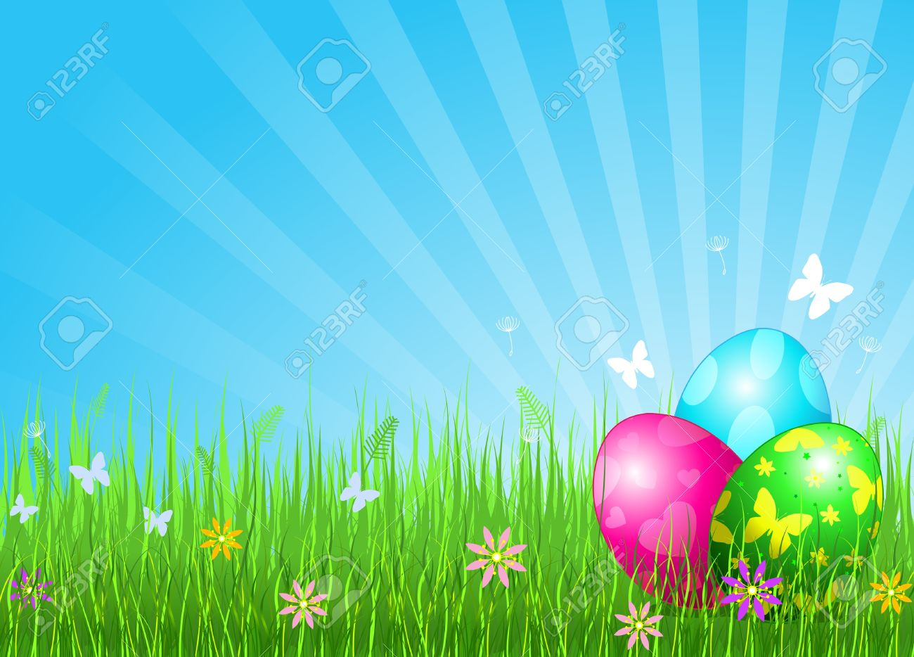 Abstract Easter Background With Beautiful Coloring Easter Eggs 1300x934
