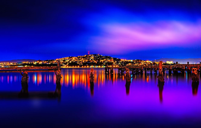 Wallpaper landscape night lights New Zealand Wellington images 1332x850