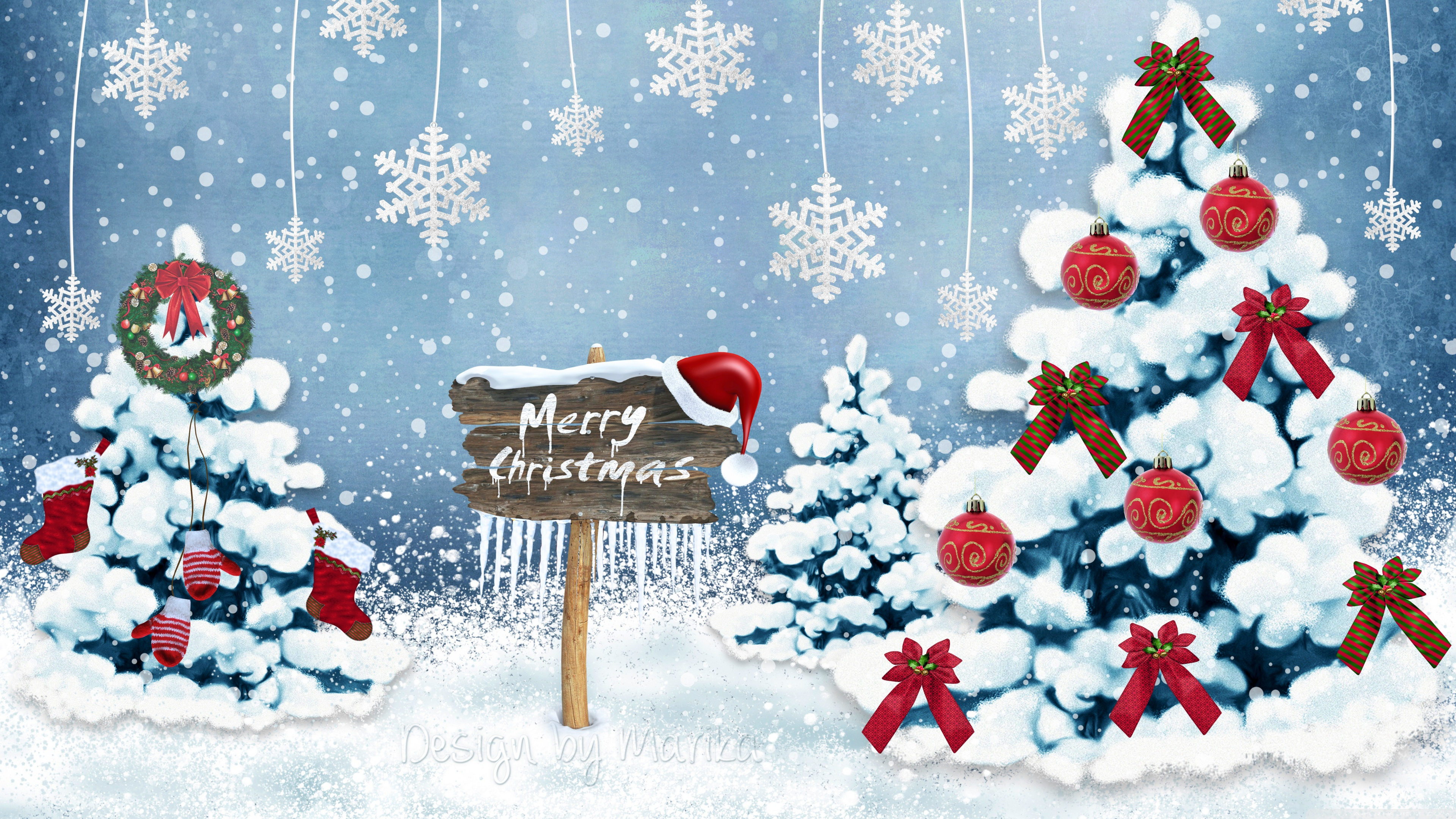 Merry Christmas 2014 Ultra HD Desktop Background Wallpaper for 4K 3840x2160