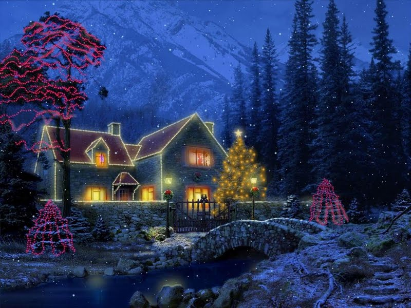 3D Christmas Cottage desktoplaptop wallpaper Listed in christmas 800x600