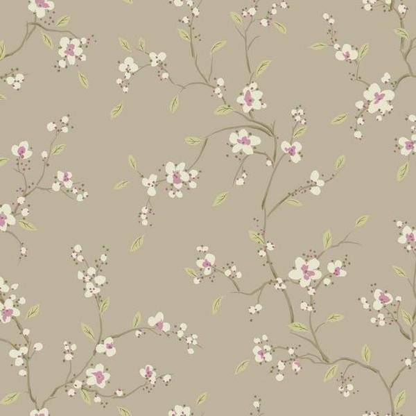 Bella Floral Wallpaper in Taupe by Ronald Redding for York Wallcoverin 600x600